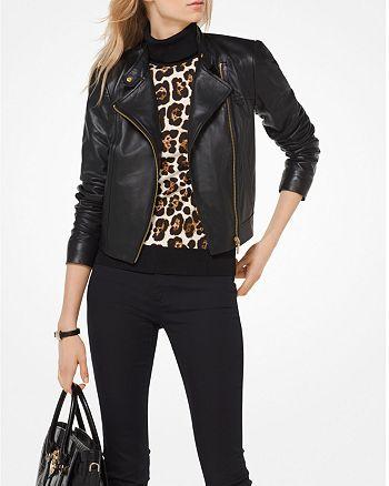 7fdc5a9ad73b MICHAEL Michael Kors Leather Moto Jacket | Bloomingdale's