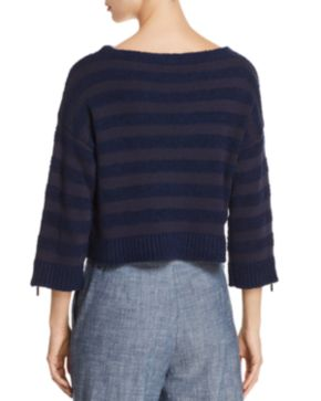 Kenneth Cole Cropped Zip-Sleeve Striped Sweater Free Shipping How Much Cheap Sale Exclusive Cheap Footaction hsDcZqYJ