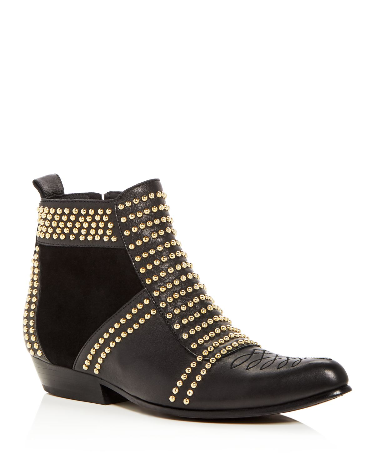 womens-charlie-studded-leather-&-suede-booties by anine-bing