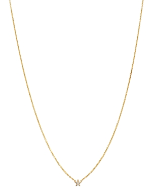 Zoe Chicco 14K Yellow Gold Itty Bitty Diamond Star Pendant Necklace, 16