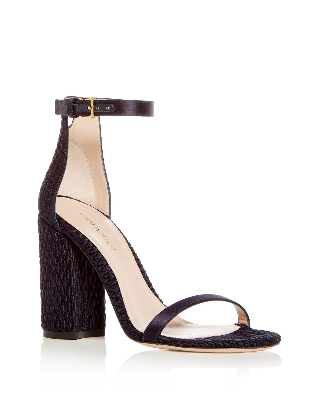 Stuart Weitzman Women's Nuquilt Satin High Block Heel Sandals