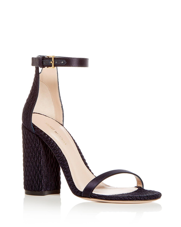 Stuart Weitzman Women's Nuquilt Satin High Block Heel Sandals 53dSkp