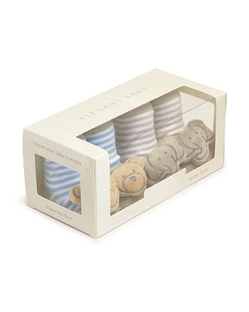 Elegant Baby - Boys' Bear & Elephant Rattle Socks, Set of 2 - Baby