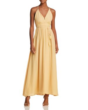 FAITHFULL THE BRAND Santa Rose Tasseled Wrap-Effect Voile Maxi Dress in Pastel Yellow