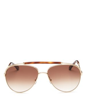 WOMEN'S JACKIE BROW BAR AVIATOR SUNGLASSES, 60MM