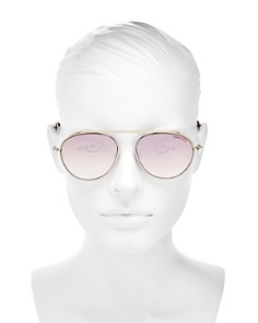 Tom Ford - Women's Mirrored Brow Bar Aviator Sunglasses, 55mm