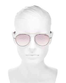 Tom Ford - Women's Mirrored Brow Bar Aviator Sunglasses, 55mm