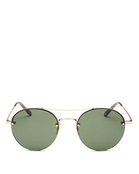 GARRETT LEIGHT - Men's Beaumont Brow Bar Rimless Round Sunglasses, 53mm