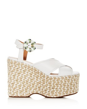 MARC JACOBS - Women's Rowan Leather Espadrille Platform Wedge Sandals
