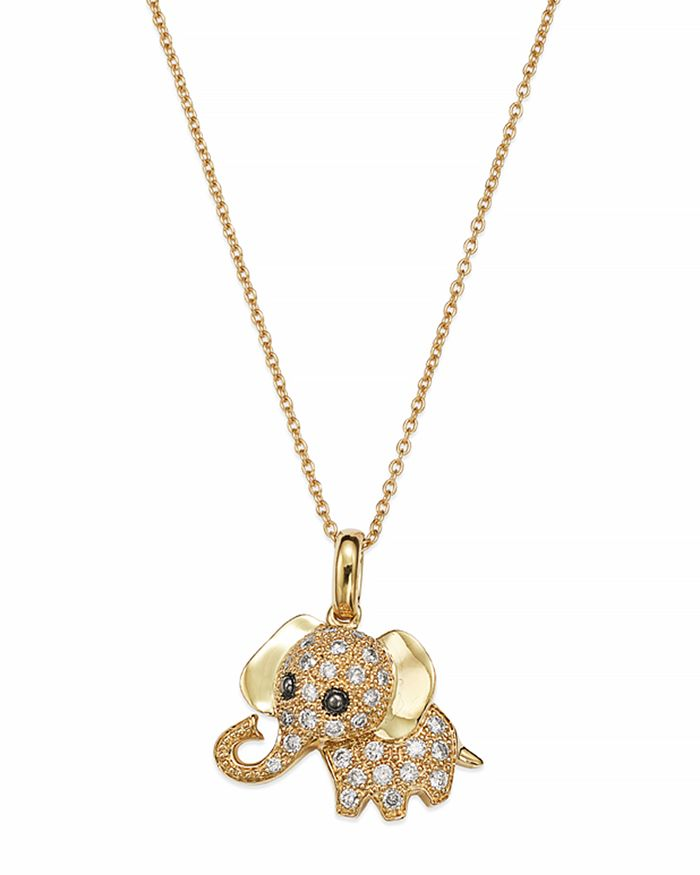 """Bloomingdale's - Diamond Elephant Pendant Necklace in 14K Yellow Gold, .20 ct. t.w., 16.5""""- 100% Exclusive"""