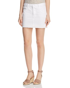 J Brand - Bonny Mid Rise Denim Mini Skirt in White