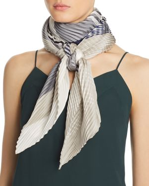 ABSTRACT PLISSE MULTICOLOR STRIPE OBLONG SCARF - 100% EXCLUSIVE