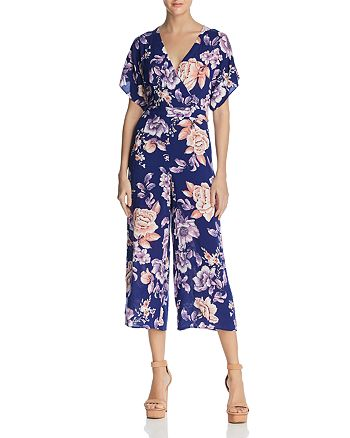 JOA - Open-Back Floral Print Jumpsuit