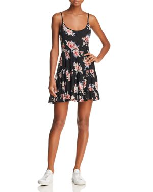 EN CREME Floral-Print Mini Dress in Black/Pink