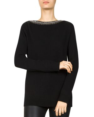 BEAD & SEQUIN-TRIMMED WOOL & CASHMERE SWEATER