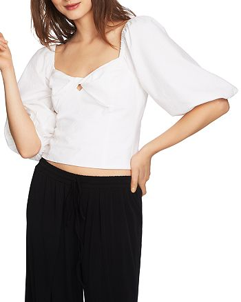 1.STATE - Puff-Sleeve Cropped Top