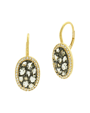 Freida Rothman Rose d\\\'Or Pave Cluster Drop Earrings-Jewelry & Accessories
