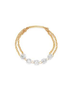 AERODIAMONDS 18K YELLOW GOLD QUINTET DIAMOND CHAIN RING