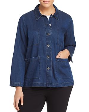 New Eileen Fisher Plus Classic Chambray Jacket, Midnight