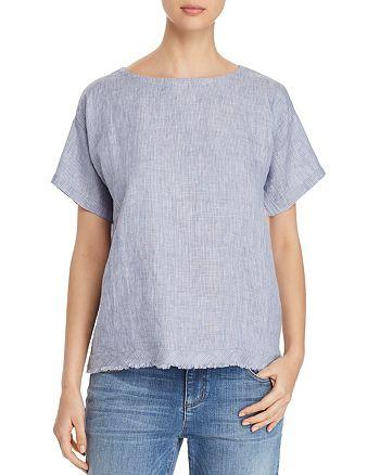 Eileen Fisher Petites - Frayed Organic Linen Top