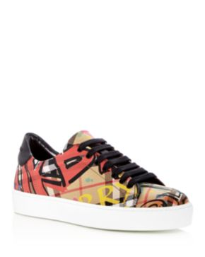 Burberry Women's Westford Graffiti Print Vintage Check Lace Up Sneakers dkxk2ylPT