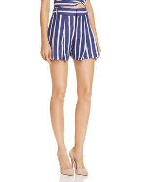 Alice + Olivia Scarlet Pleated Striped Shorts, Oasis Stripe