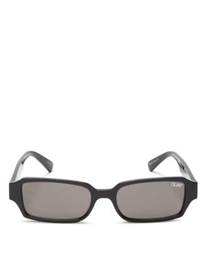 Strange Love 53Mm Rectangle Sunglasses - Black/ Smoke in Black/Smoke