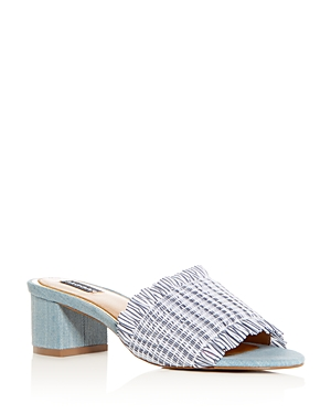 Jaggar WOMEN'S SMOCKED STRIPE & DENIM BLOCK HEEL SLIDE SANDALS