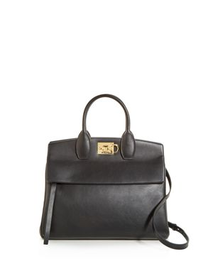 Studio Calfskin Leather Top Handle Tote - Black in Nero