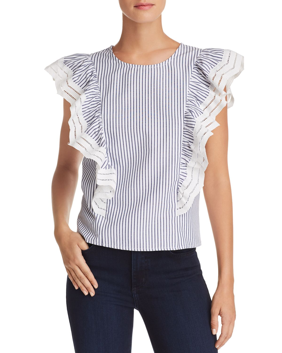 Striped Lace Trimmed Ruffle Top   100 Percents Exclusive by Aqua