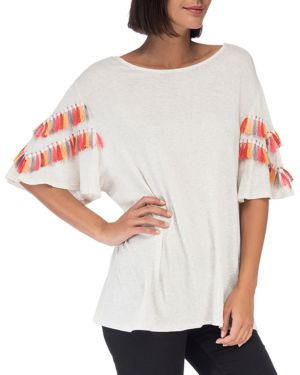 B COLLECTION BY BOBEAU Jean Tassel-Sleeve Top in Ivory