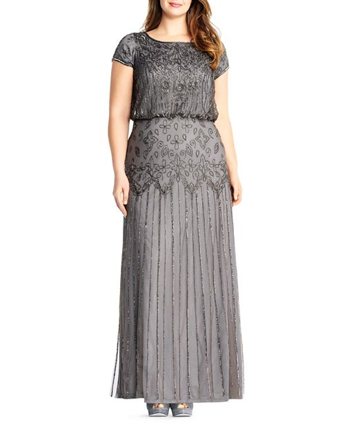 Adrianna Papell Plus Short Sleeve Beaded Gown   Bloomingdale\'s
