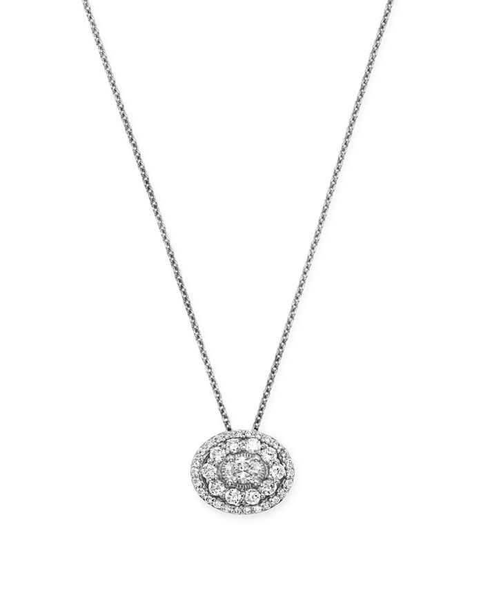 Bloomingdale's Diamond Halo Oval Pendant Necklace In 14K White Gold, 0.50 Ct. T.W. - 100% Exclusive