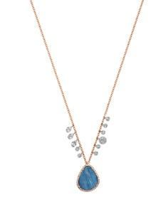 "Meira T - 14K White & Rose Gold Opal & Diamond Pendant Necklace, 16"""