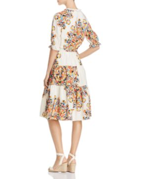 Arabella printed silk dress Tory Burch