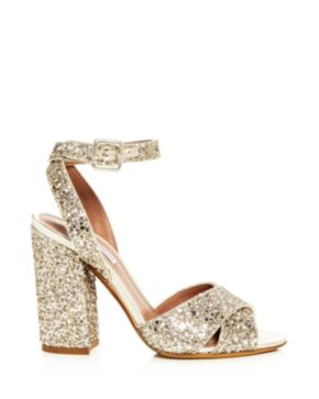 Tabitha Simmons Women's Connie Glitter Ankle Strap High Block Heel Sandals wsK0hJ4