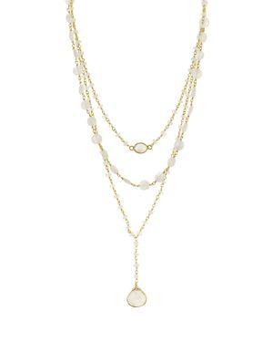 ELA RAE Aquamarine Multi Strand Pendant Necklace, 14 in Garnet