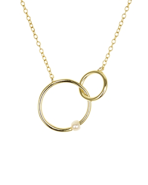 Interlocking Rings & Pearl 18K Gold-Plated Sterling Silver Necklace