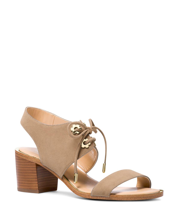 Michael Kors Women's Estela Suede Ankle Tie Block Heel Sandals
