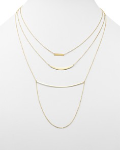 "Moon & Meadow - Triple Layer Bar Necklace in 14K Yellow Gold, 19"" - 100% Exclusive"
