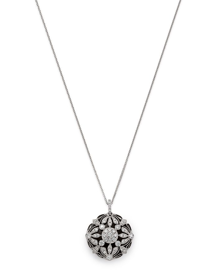 Bloomingdale's - Floral Diamond Pendant Necklace in 14 Kt. White Gold - 100% Exclusive