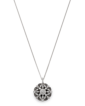 Floral Diamond/Onyx Pendant Necklace in 14 Kt. White Gold