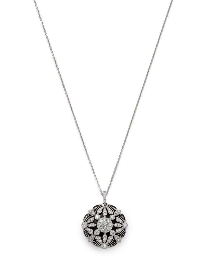 Bloomingdale's Floral Diamond/Onyx Pendant Necklace in 14K White Gold    Bloomingdale's