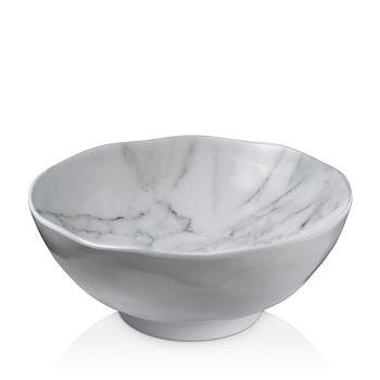 Merritt - White Marble Melamine Round Salad Bowl