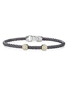 ALOR - Two-Station Cable Bangle Bracelet With Diamonds