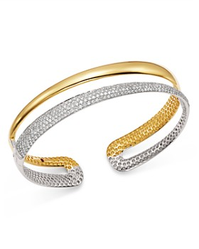 Roberto Coin - 18K White & Yellow Gold Scalare Half Pavé Diamond Kick Cuff