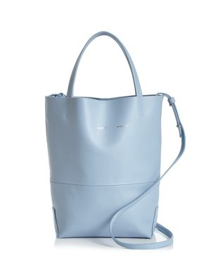 ALICE.D Firenze Small Leather Tote in Cielo Blue/Gold