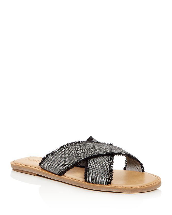 Toms Women's Viv Linen Chambray Fringe Crisscross Slide Sandals In Black Textured Chambray