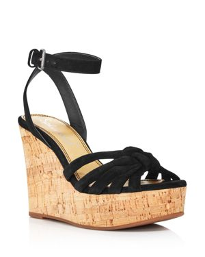 Women'S Fallon Suede Wedge Sandals, Black Suede