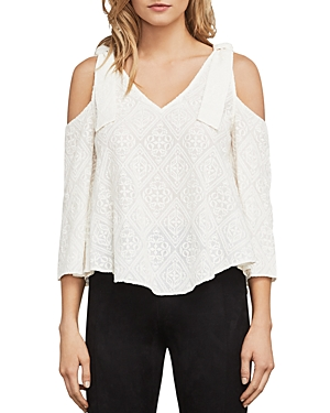 Bcbgmaxazria Cassia Embroidered Cold-Shoulder Top